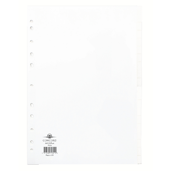 Concord A4 Subject Divider 20-Part White 79601