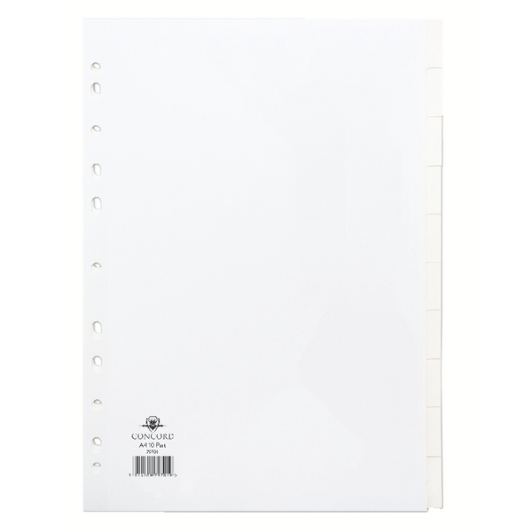 Concord A4 10-Part White Dividers (Pack of 1) 79901/97