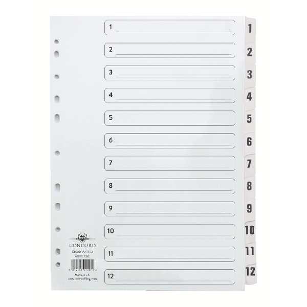 Concord Classic Index 1-12 A4 White Board With Clear Mylar Tabs 01201/Cs12