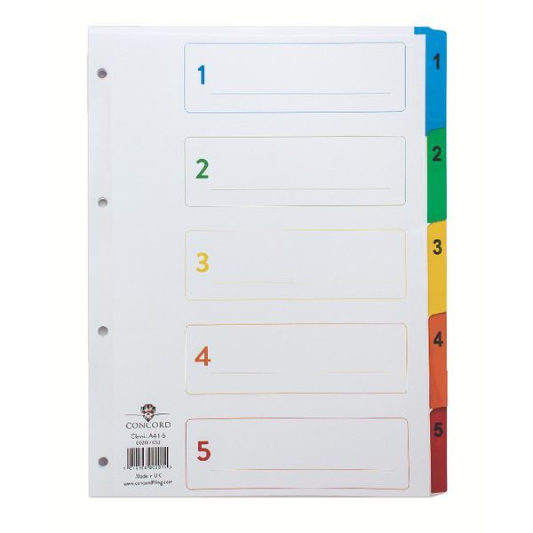Concord 1-5 A4 White With Multi-Colour Index Tabs 00201/CS2