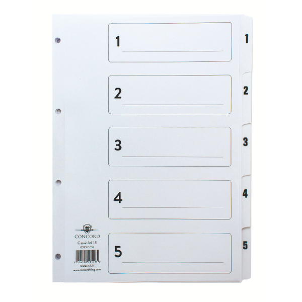 Concord Classic Index 1-5 A4 White Board With Clear Mylar Tabs 00501/CS5