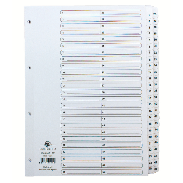 Concord Classic Index 1-50 A4 White Board With Clear Mylar Tabs 05501/Cs55