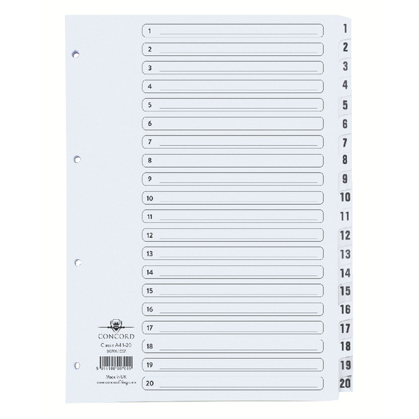 Concord Classic Index 1-20 A4 White Board With Clear Mylar Tabs 00701/CS7