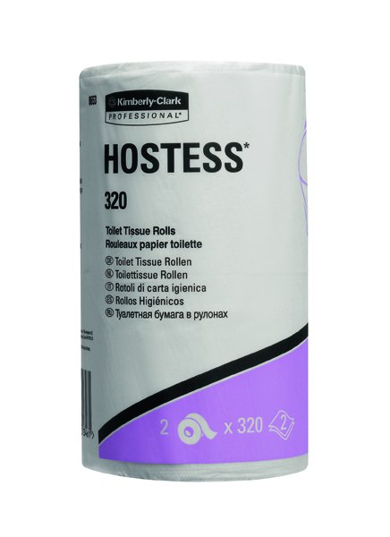 Hostess 320 Sheet Toilet Tissue Rolls White (Pack of 36) 8653