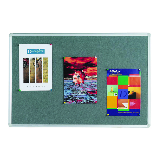 Q-Connect 1800x1200mm Aluminium Frame Grey Notice Board 9700027
