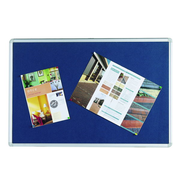 Q-Connect 1800x1200mm Aluminium Frame Blue Notice Board 9700030