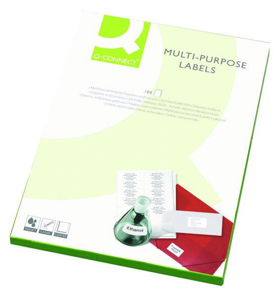 Q-Connect White Multipurpose Label 105 x 37mm Butt Cut 16 Per Sheet Pack of 1600