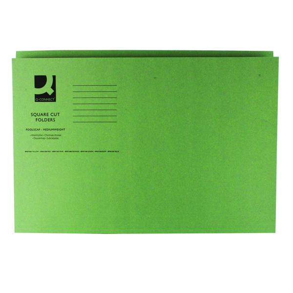 Q-Connect Green Square Cut Folder Medium Weight 250gsm Foolscap (100 Pack) KF01189