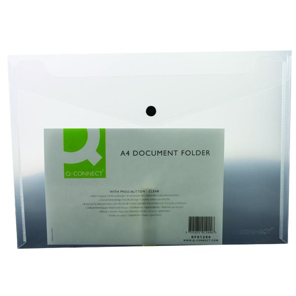 Q-Connect A4 Clear Polypropylene Popper Folder (12 Pack) KF01244Q