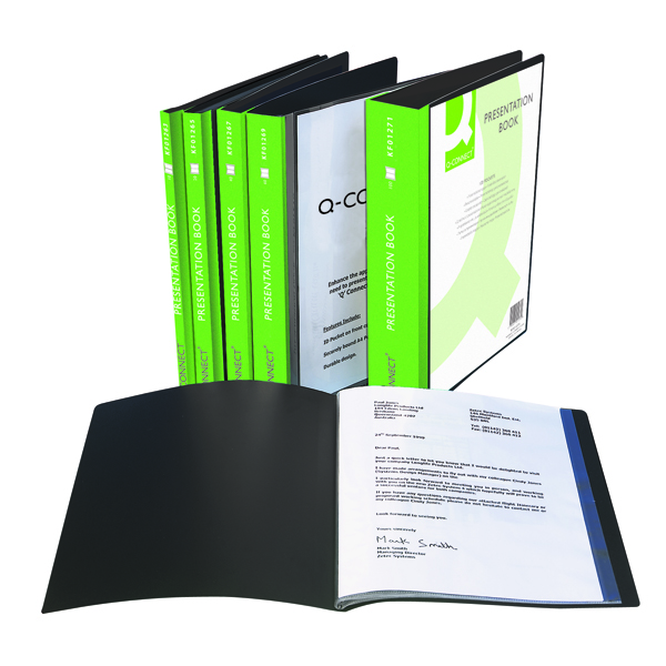Q-Connect Black 10 Pocket Presentation Book KF01263