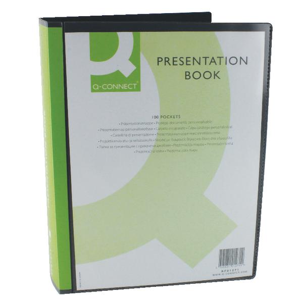 Q-Connect Presentation Display Book 100 Pocket Black