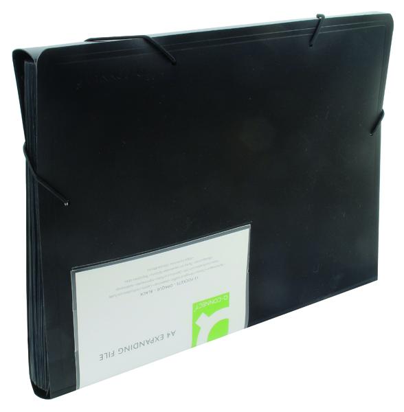 Q-Connect 13-Pocket Black Expanding File