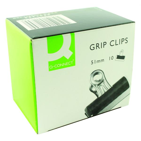 Q-Connect 51mm Black Grip Clip (10 Pack) KF01289