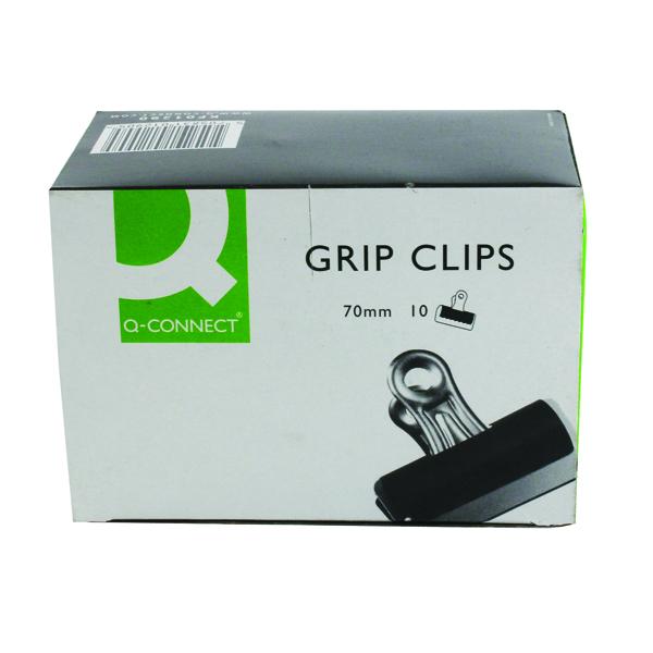 Q-Connect 70mm Black Grip Clip (10 Pack) KF01290
