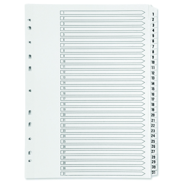 Q-Connect Multi-Punched 1-31 Polypropylene White A4 Index KF01357