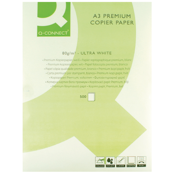 Q-Connect White A3 80gsm Premier Copier Paper (500 Pack) KF01425