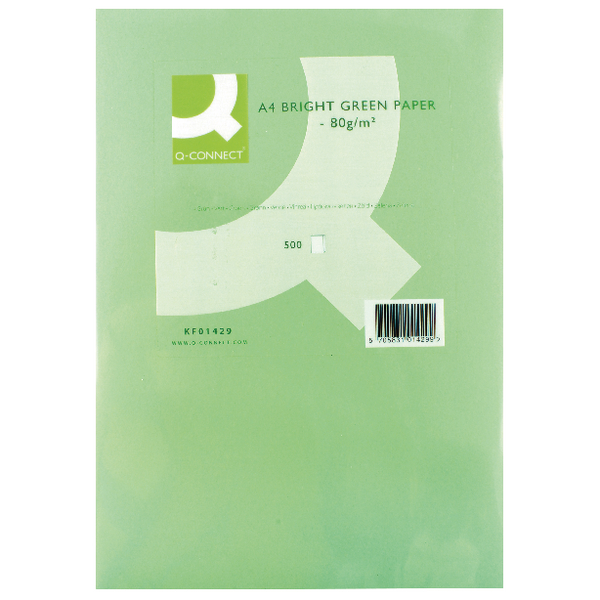 Q-Connect Coloured Copier Paper A4 80gsm Bright Green Ream