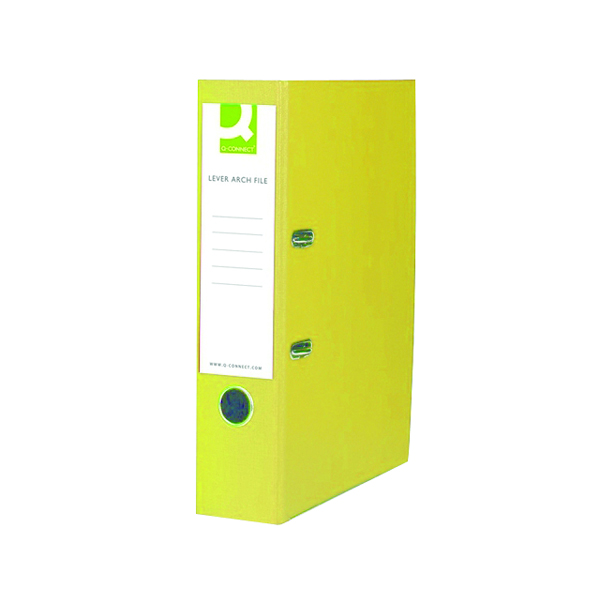 Q-Connect Polypropylene 70mm Yellow Lever Arch Foolscap File (Pack of 10) KF01476