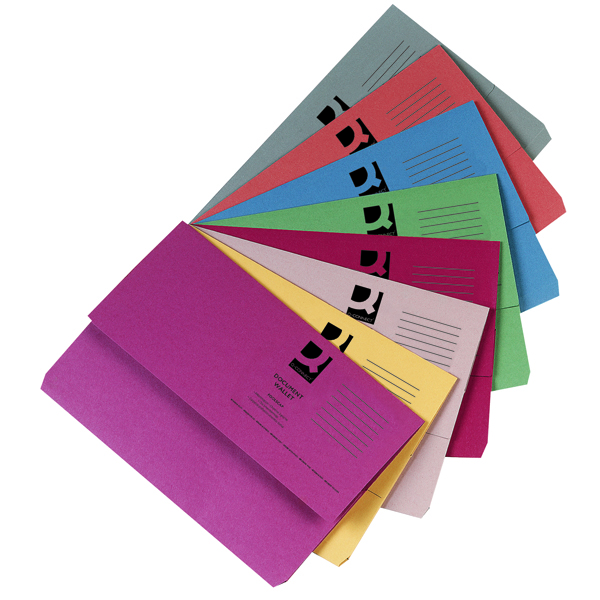 Q-Connect Foolscap Assorted Document Wallets (50 Pack) KF01490