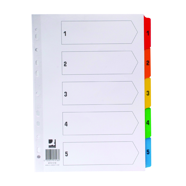 Q-Connect Index A4 Multi-Punched 1-5 Reinforced Multi-Colour Numbered Tabs KF01518