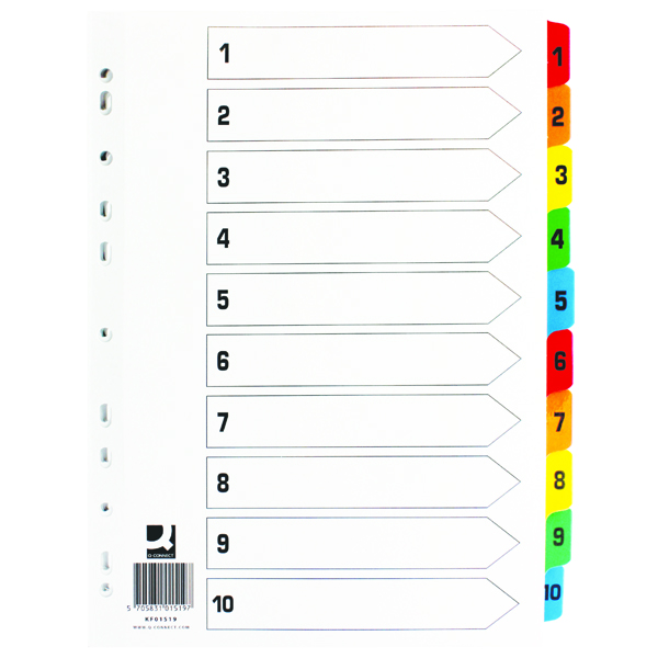 Q-Connect MultiColoured Reinforced 1-10 Index Numbered Tabs KF01519