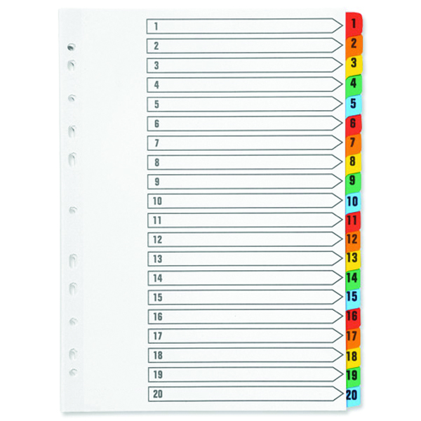 Q-Connect Index A4 Multi-Punched 1-20 Reinforced Multi-Colour Numbered Tabs KF01521