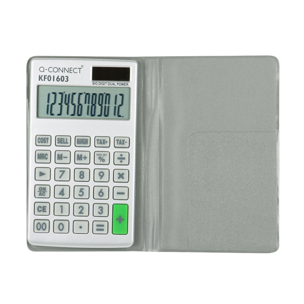 Q-Connect Silver Large 10-Digit Pocket Calculator