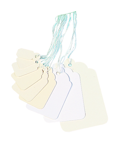 21x13mm White Strung Ticket (Pack of 1000) KF01615