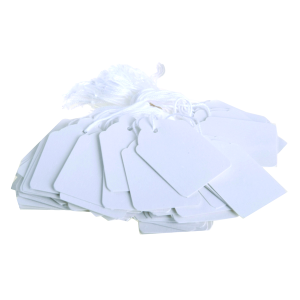 48x30mm White Strung Ticket (Pack of 1000)