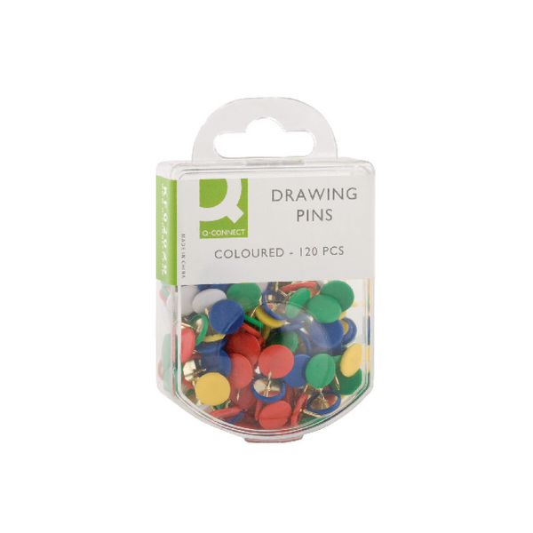 Q-Connect Drawing Pin Coloured Head (1200 Pack) KF02020Q