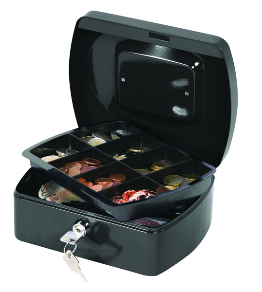 Q-Connect 8 inch Black Cash Box KF02602