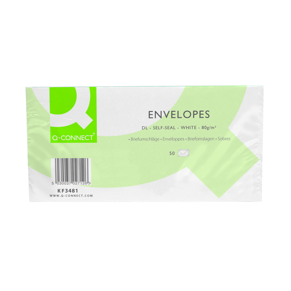 Q-Connect DL Envelopes 80gsm Self Seal White (Pack of 1000)