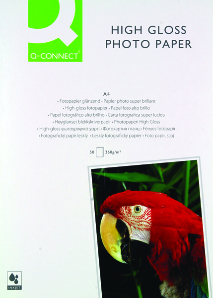Q-Connect A4 White High Gloss Photo Paper 260gsm (Pack of 50) KF02772