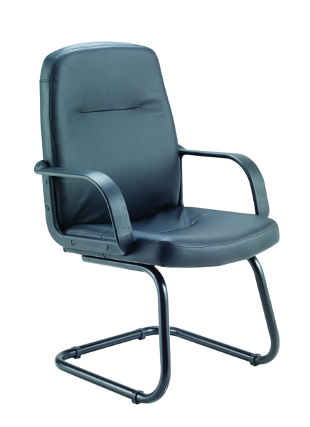 Jemini Rhone Black Leather Look Visitor Chair Cantilever Legs