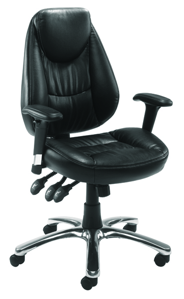 Avior Calabria Black Leather Look Operator Chair KF03434