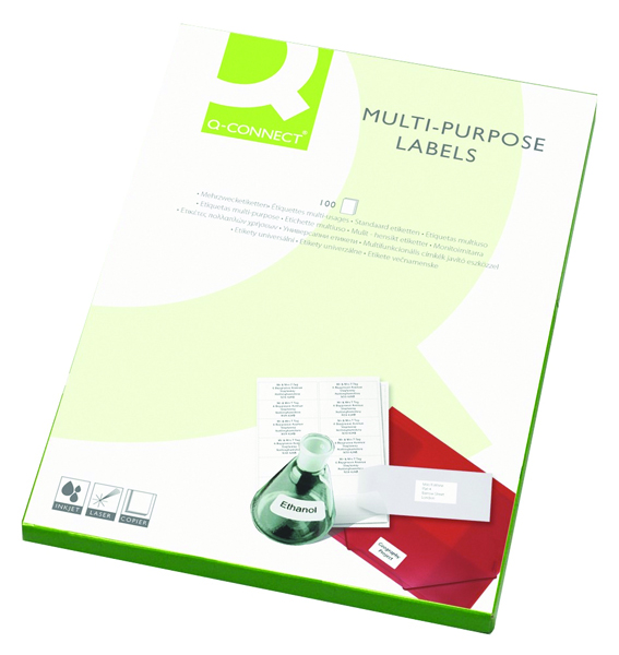 Q-Connect White Multipurpose Label 210 x 287mm 1 Per Sheet Pack of 100 KF03474