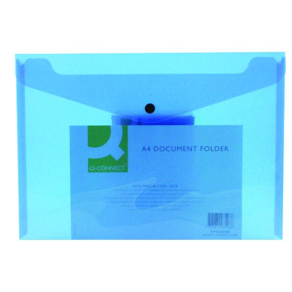 Q-Connect A4 Blue Polypropylene Popper Folder (12 Pack) KF03596