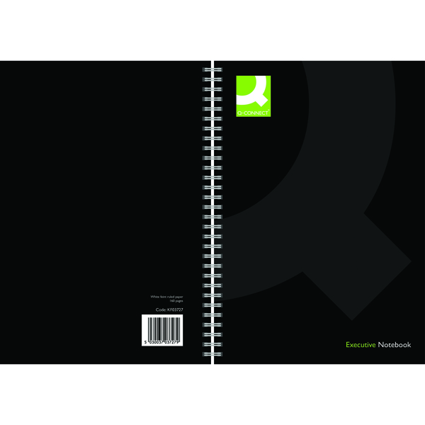 Q-Connect Wirebound A4 Hardback Notebook 160 Pages Black (3 Pack)