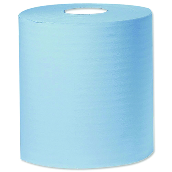 2Work Blue 1-Ply Centrefeed 300 Metre Roll (Pack of 6) KF03803