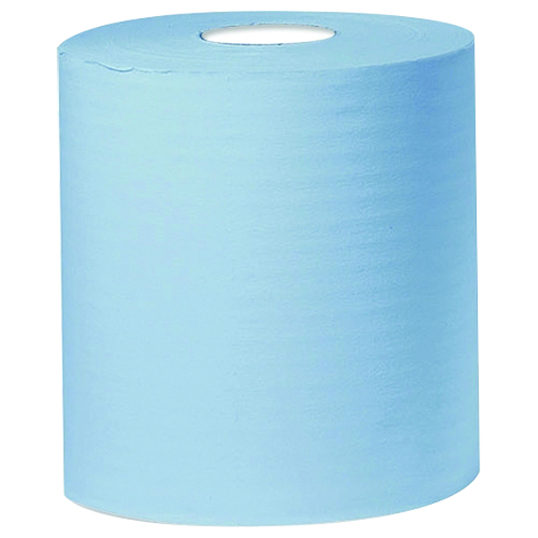 2Work Blue 2-Ply Centrefeed Roll 150 Metres (Pack of 6)