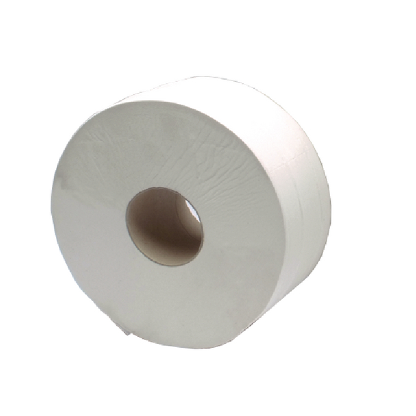 2Work White Jumbo 2 Ply Toilet Roll 410 Metre (6 Pack) KF03810