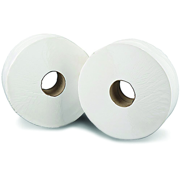 2Work White 2 Ply Mini Jumbo Toilet Roll 200 Metres (Pack of 12) KF03811
