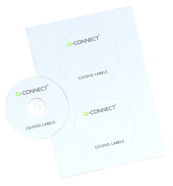 Q-Connect CD/DVD Label 2 per A4 Sheet Pack of 100