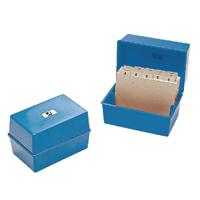 Q-Connect Card Index Box 8x5 Inches Blue CP012KFBLU