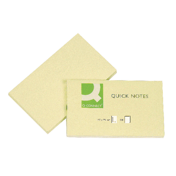 Q-Connect Repositionable Quick Notes 76 x 127mm Yellow (12 Pack) KF10503