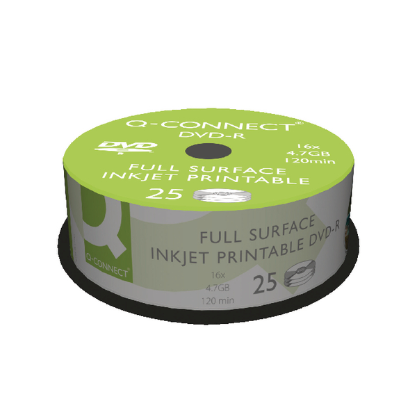 Image for Q-Connect Inkjet Printable DVD-R Discs 16x 4.7GB (Pack of 25)