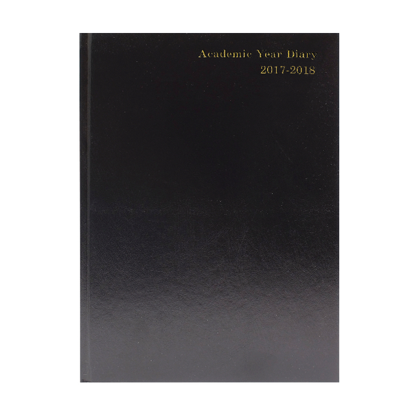 Academic Diary Day/Page 2017/18 A4 Black