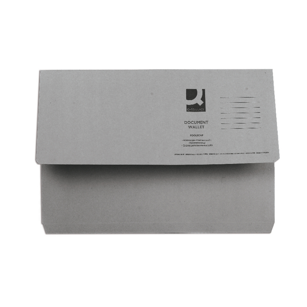 Q-Connect Foolscap Grey Document Wallet (50 Pack) KF23013