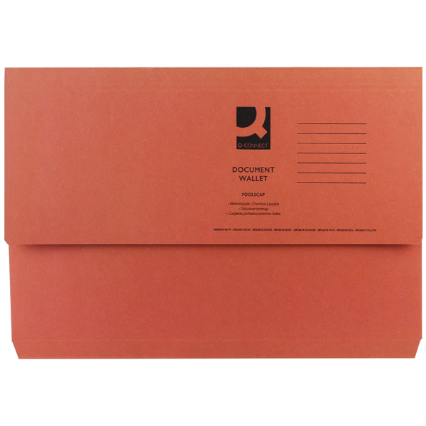 Q-Connect Foolscap Orange Document Wallet (50 Pack) KF23014