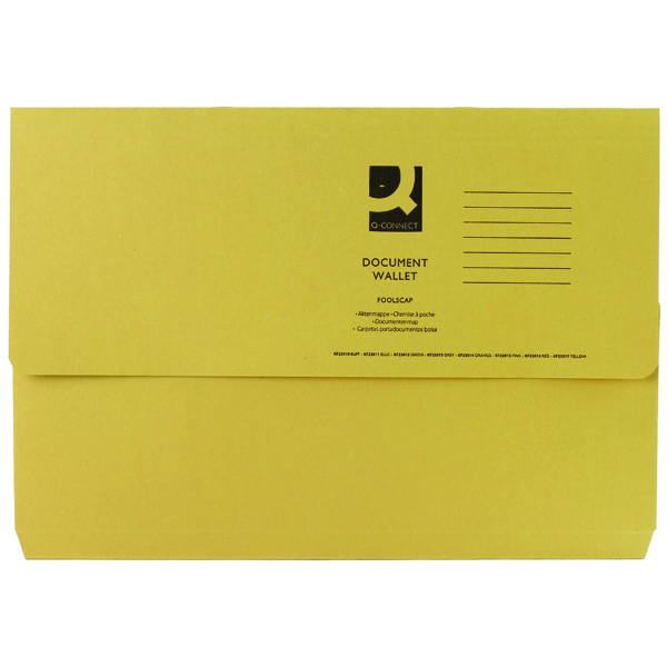 Q-Connect Foolscap Yellow Document Wallet (50 Pack) KF23017
